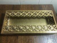 Vintage Gold Filigree Ormolu Basket Weave Vanity Tissue Holder