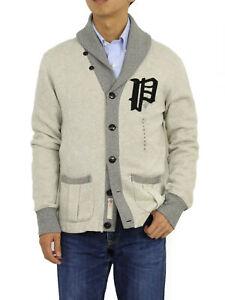 "Polo Ralph Lauren ""P"" Shawl Sweatshirt Cardigan Sweater - 2 Tone Grey"