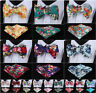 Floral Men Woven Cotton Self Bow Tie Pocket Square handkerchief Set #G3