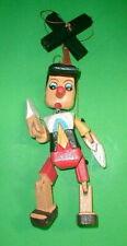 "Pinocchio Marionette Puppet Hand Carved Wood Med 12"" L Disney Pinochio Medium"