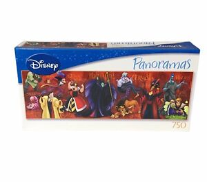 "Disney Panoramas Villains 750 piece Jigsaw Puzzle 11""x36"" Factory Sealed NEW"