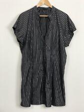CITY CHIC Womens Black Silver Striped Cap Sleeve Button Shirt Dress Plus Size M