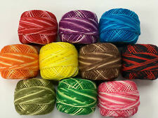 10 VARIEGATED OASIS PEARL COTTON BALLS CROCHET EMBROIDERY THREADS