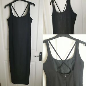 Size 6 Roman Originals Black Strappy Maxi Evening Dress Leaf Print