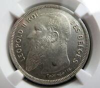 BELGIUM 2 Francs 1909 NGC MS 61 French UNC