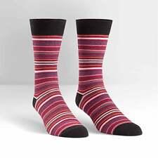 Sock It To Me Men's Crew Socks - Black & Red Striped