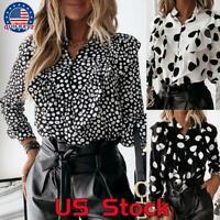 Women Casual Ruffle T Shirt Blouse Ladies Office Long Sleeve V Neck Tops Shirt