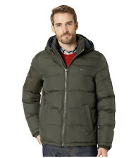 Tommy Hilfiger Mens Classic Hooded Puffer Jacket Olive