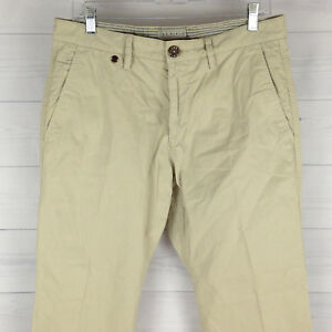 The Field Mens 33 x 30 Beige 100% Cotton Flat Front Straight Chino Pants Stains