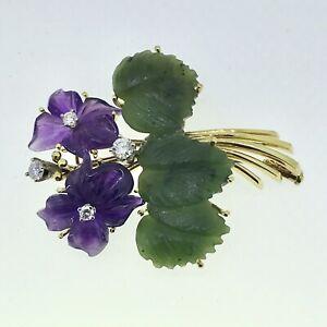Brosche Amethyst Veilchen Diamanten Blütenbrosche Jade Blätter 585er Gold 14 ct