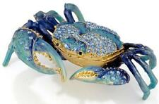 Blue Crab Bejeweled Swarovski Enamel Hinged Trinket Box