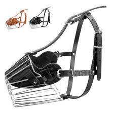 Strong Dog Muzzle Adjustable Metal Basket No Bite Bark Cage With Leather Straps