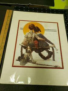 Norman Rockwell 8 X 10 Matted to 11 X 14. Boy And Girl Gazing At Moon ChuckBooks