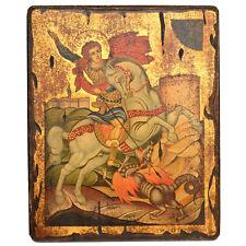 Orthodox Icon Greek Byzantine Handpainted Old Wood Saint George
