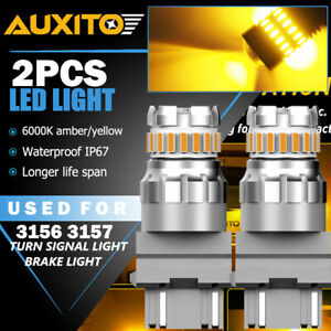 AUXITO 2X 3157 3156 Amber yellow LED Turn Signal Parking Light Bulb CANBUS