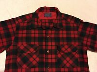 VINTAGE PENDLETON BLACK RED PLAID BOARD SHIRT MADE IN USA 100% WASHABLE WOOL M