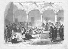 PARRAL (MEXIQUE MEXICO) COMBATS DE COQS / COCKFIGHTS / GRAVURE ENGRAVING 1867