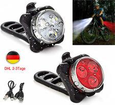 LED Fahrradlicht Set Fahrradbeleuchtung Scheinwerfer USB Vorne Hinten Lampe Akku