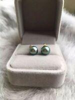 New 7-8mm AAA black green round natural tahitian pearl earrings 14k gold