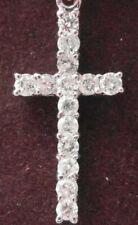 "q167 18ct white gold 1 carat diamond set cross pendant and 16.5"" chain necklace"