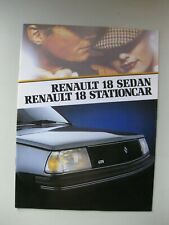 Renault 18 Sedan Stationcar brochure Prospekt Dutch 20 pages 1984