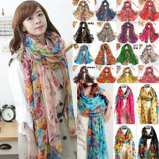 New Fashion Long Cotton Voile Floral Shawl Scarf Wrap Stole For Girls 19 colors