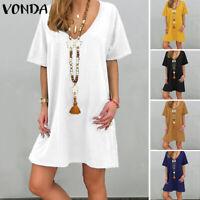 Damenmode Kurzarm V Neck Kleid Minikleid Baumwolle Linen Shirtkleid Tunika Kleid