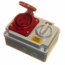 16A 5 Pin Socket Interlock with Switch 380 - 415V 3P+N+E 3 Phase IP44 16amp Red