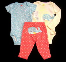 New Carter'S Blue Whale Baby Girl Newborn 3 Piece Lot Outfit Set 2 Bodysuits Nwt