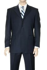 $795 Men's Made in Italy Classic Blue 100% Wool 3 Button Pleated Suit 38S 32W