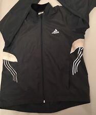 Adidas Size M Reflective Windbreaker Running  Gray Woman Thumbhole Jacket EUC
