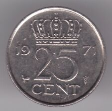 Netherlands 25 Cents 1971 Nickel Coin - Queen Juliana