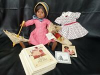 American Girl Doll Addy Walker lot Meet Outfit + Hat, shoes summer Books parasol