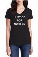 Ladies V-neck Justice For Nurses T-Shirt Against Police Violence Tee Shirt Utah