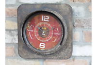 Metal Industrial Antique Rustic Warehouse Factory Station Square Wall Art Clock