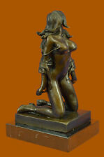 Bronze Sculpture Erotic Art Titled Girl with Whip By German Artist Preiss Statue