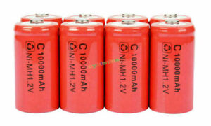 8 x C size 1.2V 10000mAh Ni-MH rechargeable battery Red