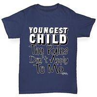 Twisted Envy Boy's Youngest Child Rules Don't Apply To Me Funny Cotton T-Shirt