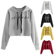 Womens Friends Letter Printed Hoodie Casual Crop Tops Pullover Sweatshirt Jumper