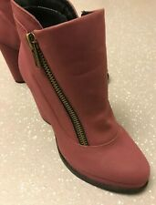 Women's Schuh Crushed Raspberry Faux Leather Ankle Boots UK 6 EU 39 US 8