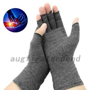 Thermal Fingerless Arthritis Gloves Hand Wrist Brace Carpal Pain Relief Grey
