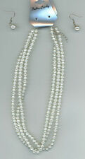 "Necklace Earrings Set 16"" 3 Strand Glass Pearl Fishhook Pierced 3/8"" Ball B-0-14"