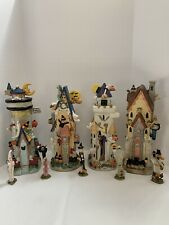 Lot 4 Ceramic Lighted Halloween Decorative Haunted Houses With 5 Mini Statues