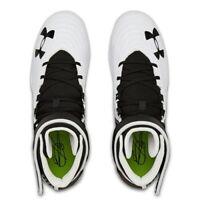 size 7 Under Armour Men's Harper 4 Mid RM Baseball Cleats White/Black