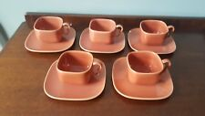 Vintage Mid Century Franciscan Tiempo Apricot Copper Cup & Saucers (5) AS IS