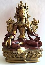 "Green Tara Nepali Style Statue 5.5""H Buddhism Gold Red O-066GR"
