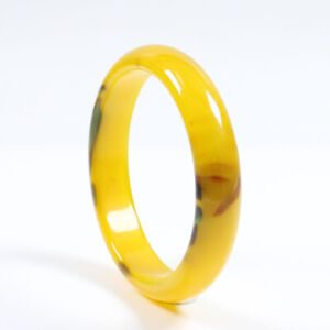 68mm Certified Natural Agate Chalcedony Yellow Brown Jade Bracelet Bangle j3224