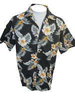 DOLPHINO Men Hawaiian ALOHA shirt pit to pit 23.5 L polyester floral camp luau