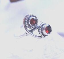 Silberring 53 Schmal Handarbeit Granat Rot Facettiert Verspielt Ring Silber