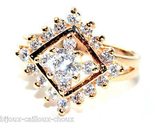 Bague en plaqué or 18 carats losange zirconium blanc T 54 bijou ring A4